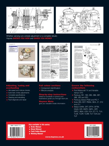 Haynes 4177 Carburettor manual